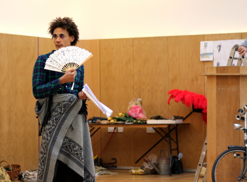 Peter [Lysander] rehearsing with costume and props.